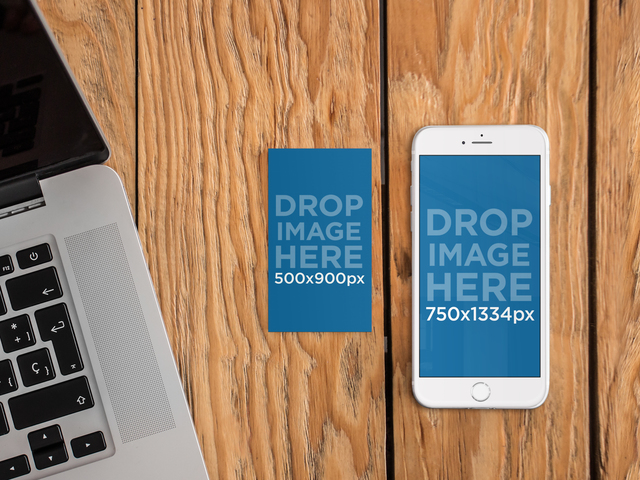 iPhone 6 and Business Card Mockup Template a4650