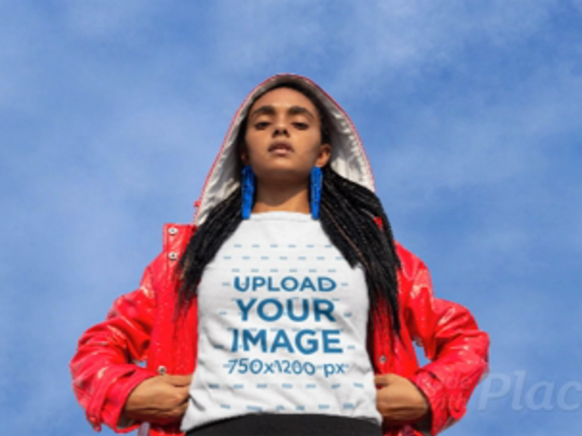 T-Shirt Video with Parallax Effect Featuring a Woman Wearing a Bright Red Jacket 25448