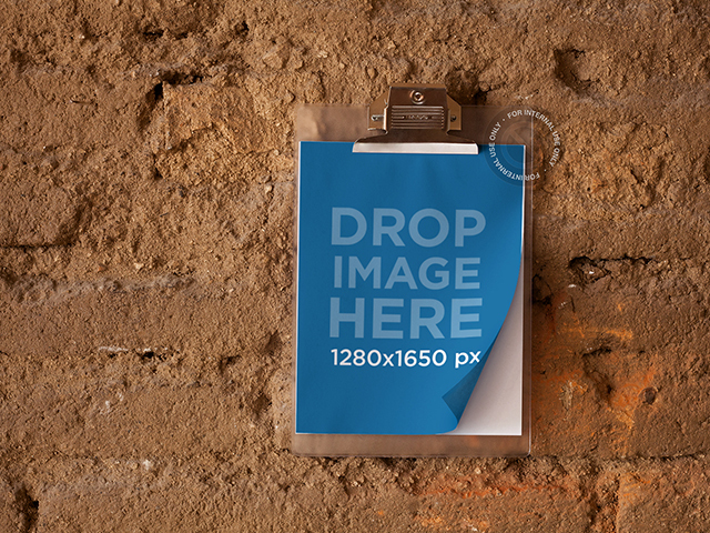 Mockup of a Clipboard Hanging from a Wall a6283