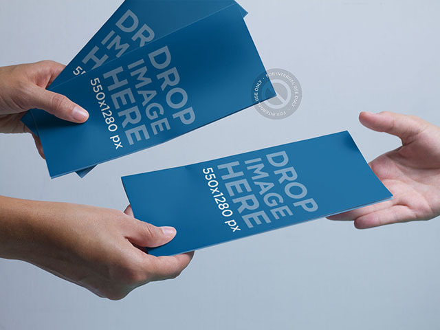 Placeit Brochure Mockup Featuring A Person Handing Out