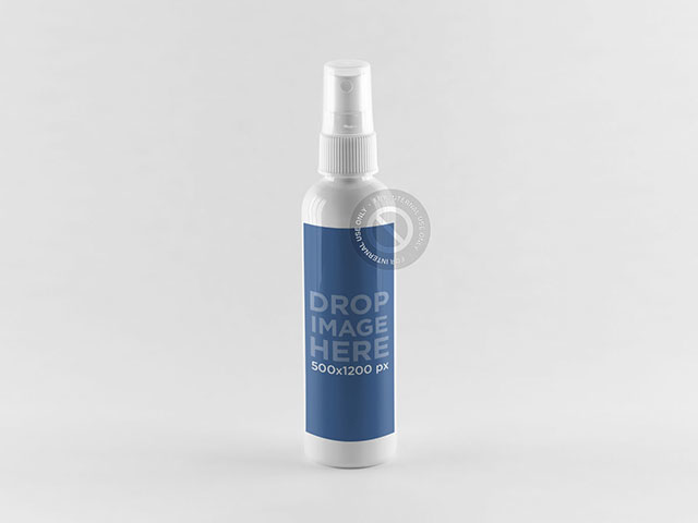 Label Mockup Featuring a Spray Bottle Standing Over a Flat Surface a851
