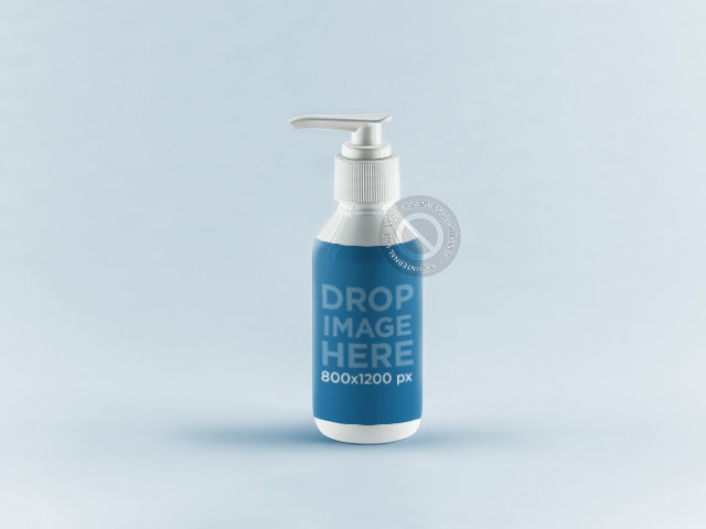 Label Mockup Featuring a White Soap Dispenser a846