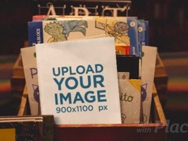 Parallax Video Mockup of a Book in a Kids' Book Shop 25880