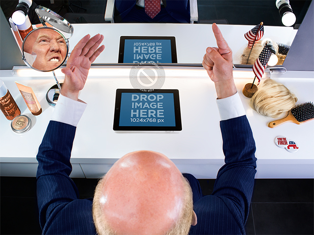 Mockup of a Bald Politician Using an iPad While Practicing a Speech a7306