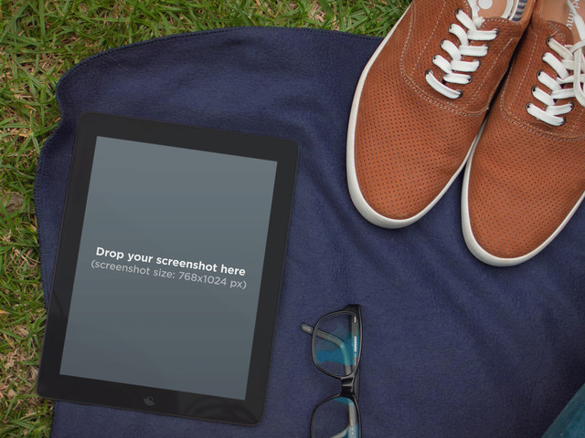 Black iPad Picnic And Glasses