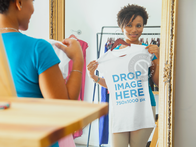 T-Shirt Mockup of a Young Woman Shopping 6606a