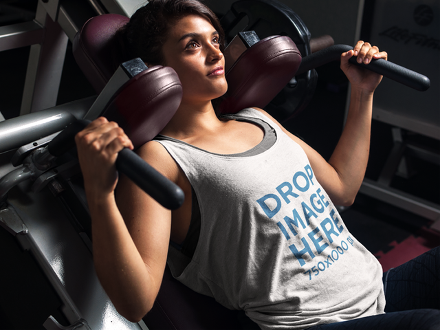 Tank Top Mockup of a Young Woman Exercising at the Gym 7626a