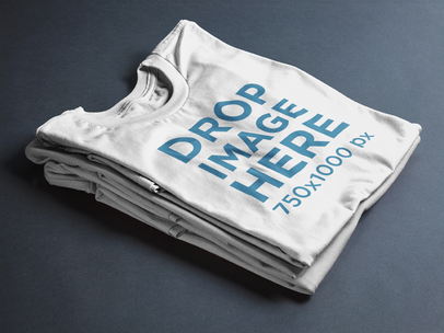 Folded T-Shirts Mockup Over a Flat Backdrop 6492a