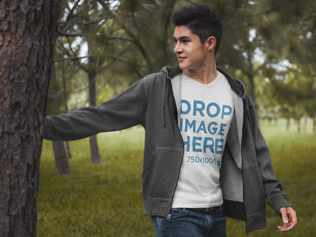 T-Shirt Mockup of a Young Man in the Woods 5554a