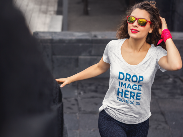 T-Shirt Mockup of a Stylish Lady with Curly Hair and Red Lips 5955a