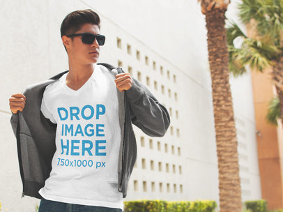 T-Shirt Mockup of a Cool Guy Walking Down the Street 5580a