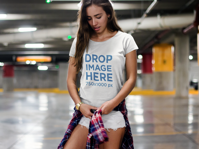 T-Shirt Mockup Featuring a Young Girl at a Parking Lot 6839a