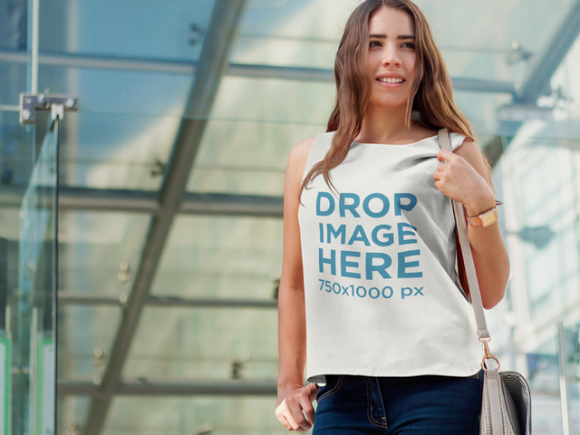 Shirt Mockup of a Beautiful Young Woman in a Sleeveless T-Shirt 6844a