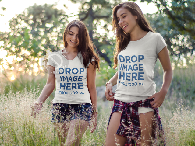 T-Shirt Mockup Featuring Two Cheerful Friends Hiking 7174a