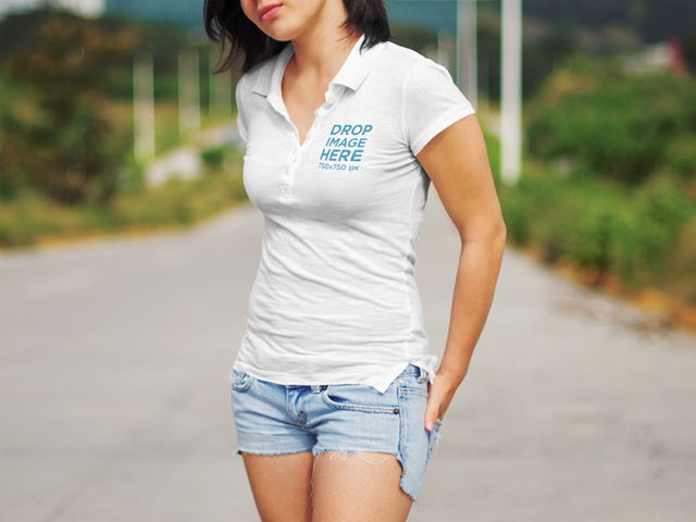 Collar Shirt Mockup Featuring a Female Hitchhiker 6442a