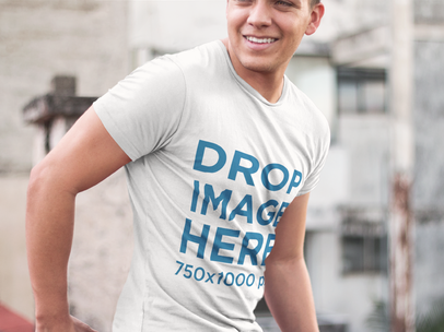T-Shirt Mockup of a Young Man in a T-Shirt Smiling 7184a