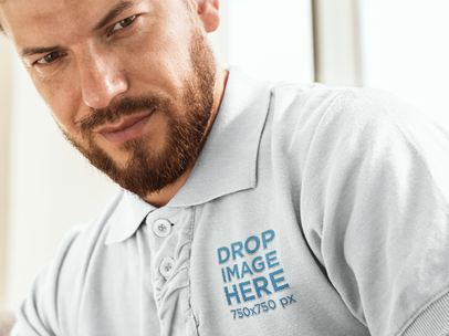 Clothing Mockup Featuring a Man in a Collar Shirt 7218a