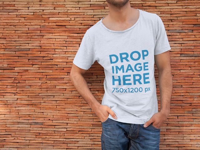 Round Neck T-Shirt Mockup of Man Leaning on Brick Wall 6494a