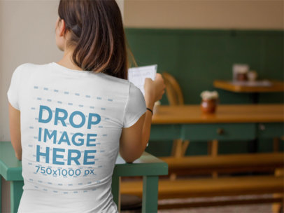 T-Shirt Mockup for Back Designs Featuring Woman at Cafe 5692a