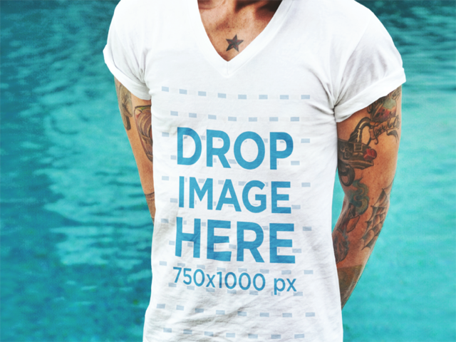 T-Shirt Mockup of a Bearded Man With Tattoos a1054