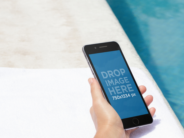 Placeit - iPhone Mockup Featuring a Pretty Woman by the Pool