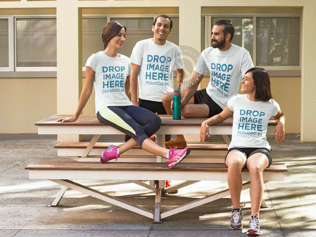 T-Shirt Mockup Featuring a Group of Friends at a Patio 7851a