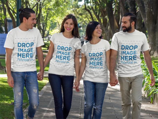 T-Shirt Mockup Featuring Two Couples Walking Outdoors a7853