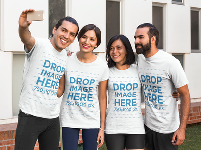 T-Shirt Mockup of a Group of Friends Taking a Selfie a7862