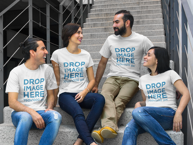 T-Shirt Mockup Featuring a Group of Friends at School 7859a