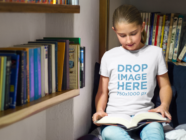 T-Shirt Mockup of a Girl Reading a Book at a Library a7931