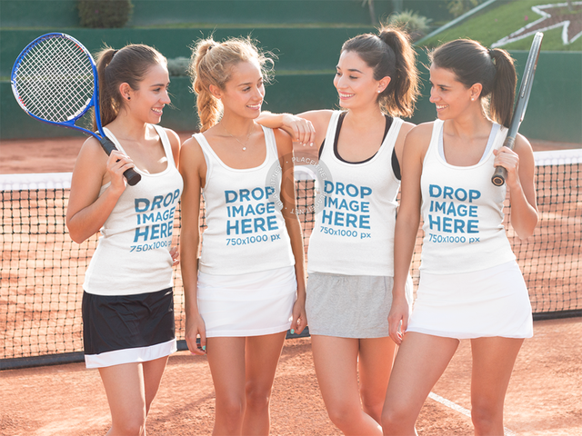 Tank Top Mockup of a Group of Friends at a Tennis Court a8011
