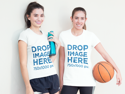 T-Shirt Mockup of Two Friends at a Basketball Court a8004