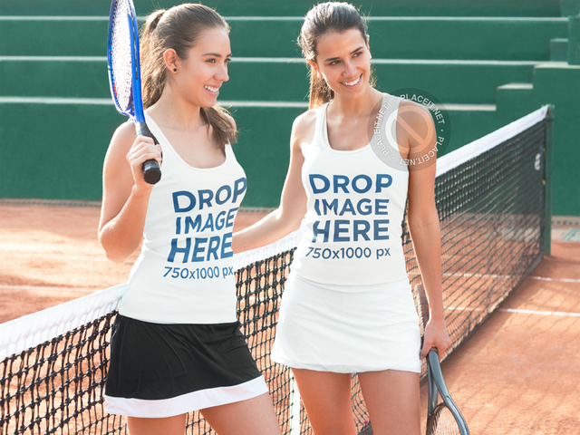 Tank Top Mockup Featuring Two Friends Playing Tennis a8003