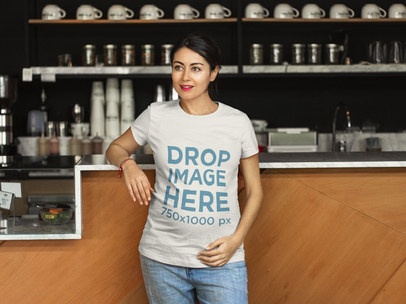 T-Shirt Mockup of a Pregnant Woman at a Coffee Shop a7962