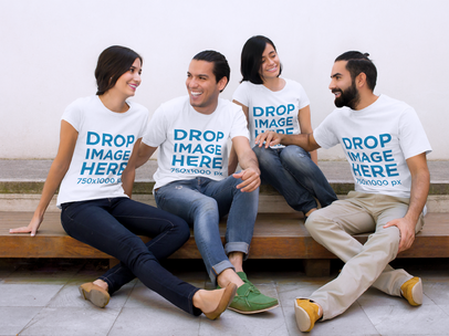 Clothing Mockup Featuring a Group of Friends Chatting a7849