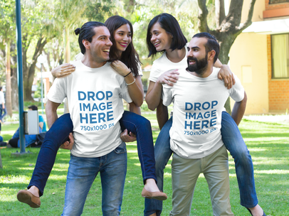 T-Shirt Mockup of Two Couples Piggybacking Outdoors a7866