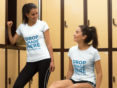 T-Shirt Mockup of Two Friends at a Gym's Locker Room a8006
