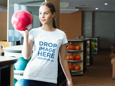 T-Shirt Mockup Featuring a Girl at a Bowling Center a7991