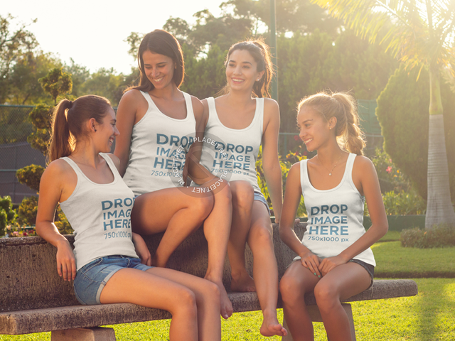 Tank Top Mockup of a Group of Girlfriends Chatting a8014