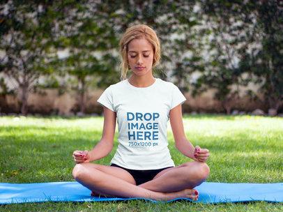 T-Shirt Mockup of a Woman Practicing Yoga at a Park a7800