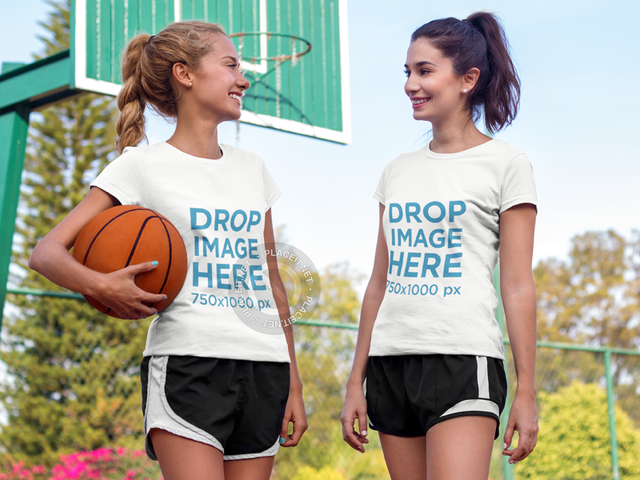 T-Shirt Template of Two Friends Playing Basketball a8008