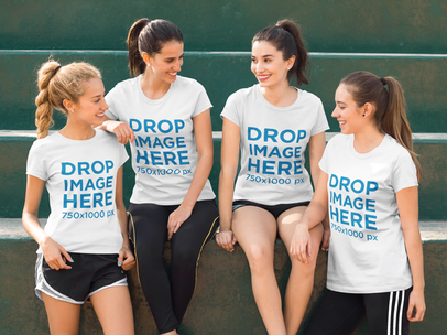 Women's Sports Team Relaxing After Game T-Shirt Mockup a7998