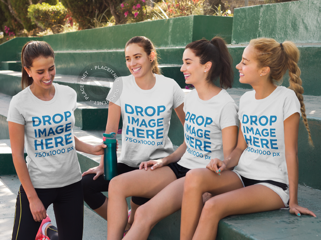 Friends Chatting After a Tennis Match T-Shirt Mockup a8002