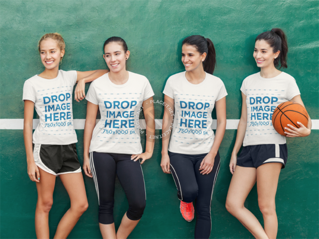 T-Shirt Mockup Featuring a Female Basketball Team a8000