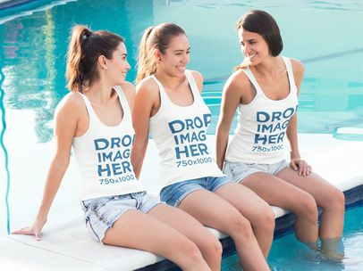 Friends Sitting by the Edge of a Pool Tank Top Mockup a8013