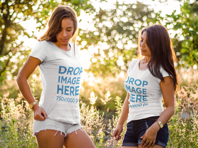 T-Shirt Mockup Featuring Two Friends at a Park a7176