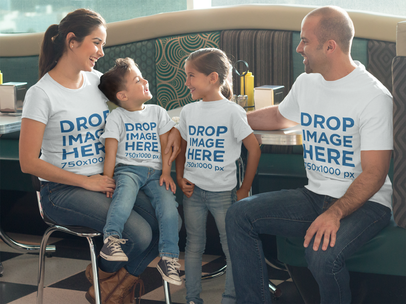 T-Shirt Mockup of a Family Having Lunch at a Restaurant a8041
