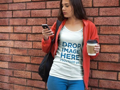 Girl at School Waiting for a Friend T-Shirt Mockup a7890