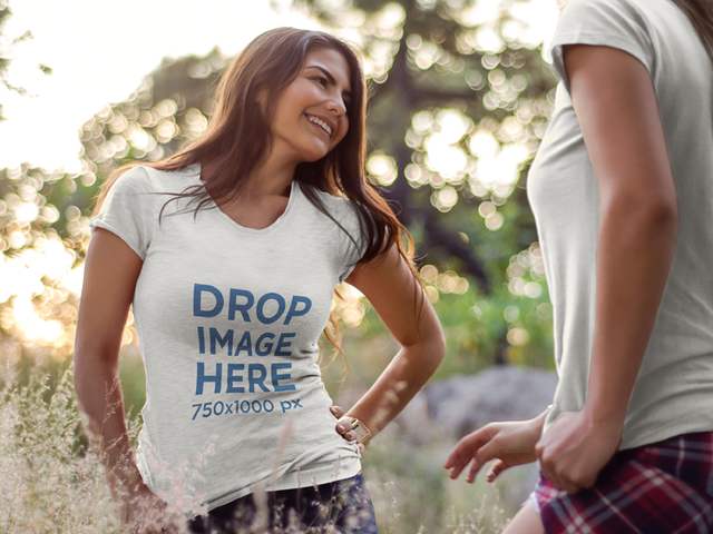T-Shirt Mockup of a Happy-Looking Young Woman at a Park a7177