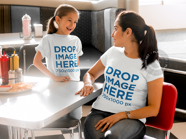 Mother and Daughter at a Diner Chatting T-Shirt Mockup a8037